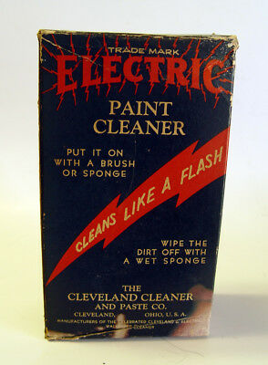 POWERFUL ACTION FILLED VINTAGE LIGHTENING BOLT 1930s ELECTRIC PAINT CLEANER BOX