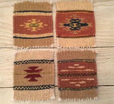"""4 Zapotec Indian 100% WOOL Tiny Rugs Southwestern Coaster 5"""" x 4.5"""" hand made"""