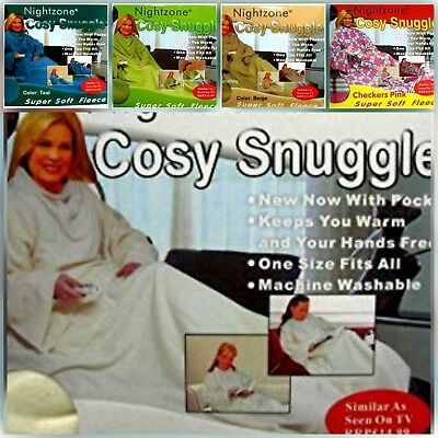 Sleeved Fleece Blanket Snuggle With Pockets Supper Soft Snuggle Wrap Warm Long