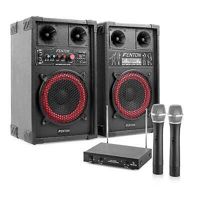 KARAOKE PARTY ANLAGE PA LAUTSPRECHER SET MP3 SPIELER 2x WIRELESS MIC USB SD 400W