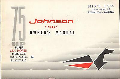 1961 Johnson Super Sea-Horse V4S, V4Sl Electric  Outboard Owners Manual (534)