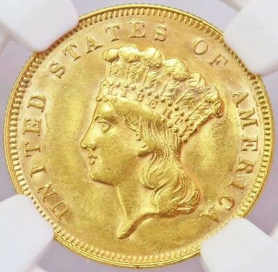 1878 Gold United States $3 Dollar Indian Princess Head Coin Ngc Uncirculated*