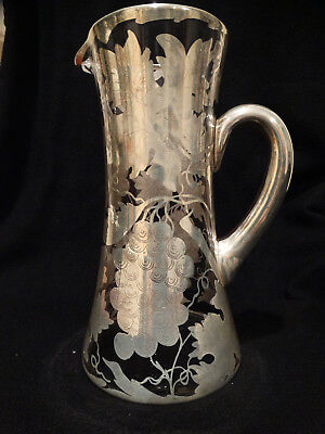 "Antique Grape Design Heavily Overlayed Sterling Silver  9.5"" Tall Glass Pitcher"