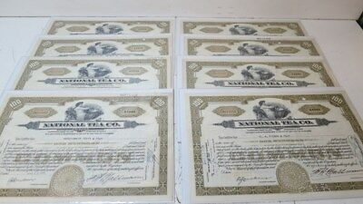 Lot of 7 National Tea Company Stock Certificates-Dated March 1934