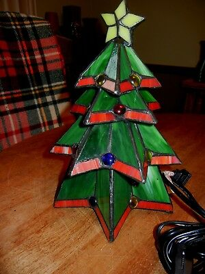 Tiffany Style CHRISTMAS TREE Stained Glass Electric Light Accent LAMP