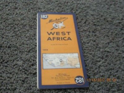 1949 MICHELIN MAP #182--Afrique Occidentale/West Africa. Map in two languages