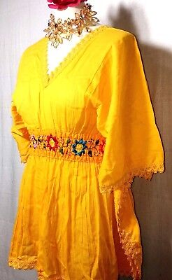 Blouse Hand Embroidered womens Huipil Mexico Boho Frida Butterfly style cotton