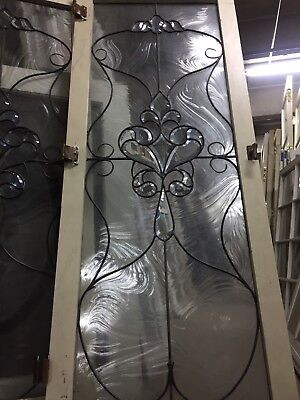 "Double Pane Leaded Glass Window with Flowers 24""x60"