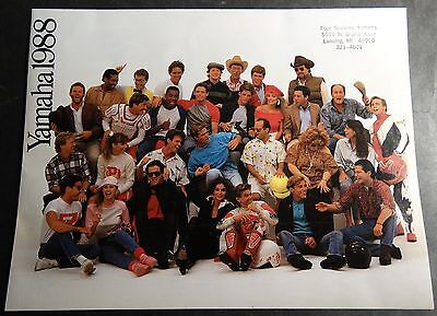 1988 Yamaha Motorcycle & Atv Sales Brochure 8 Pages Nice Poster Size  (935)