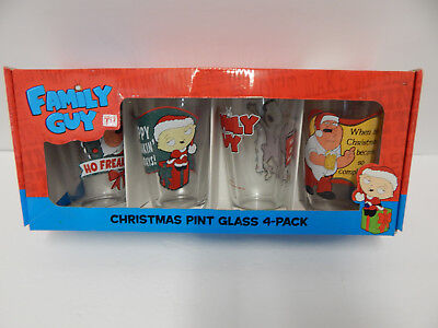 Family Guy Christmas Pint Beverage Glasses Set of 4 NIB Peter Griffin Stewie