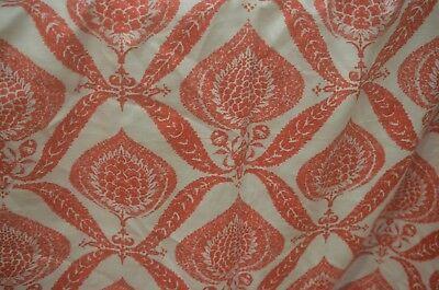Heavy Vintage Printed Linen Fabric By The Yard Tt362