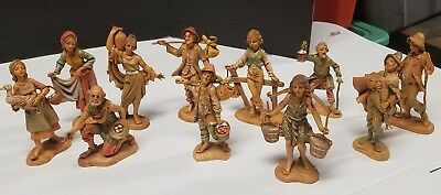 """Vintage Lot of 11 Fontanini Figures - 5"""" Pieces Depose Italy - Excellent!"""