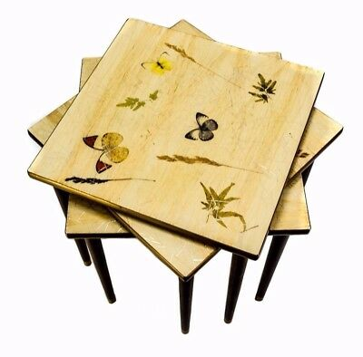 Set Of 3 Mid Century Stacking Tables, Real Butterflies, Plants In Plastic Tops