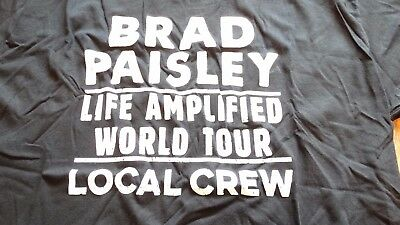 "BRAD PAISLEY ""Life Amplified"" World Tour Local Crew Shirt Size XL"