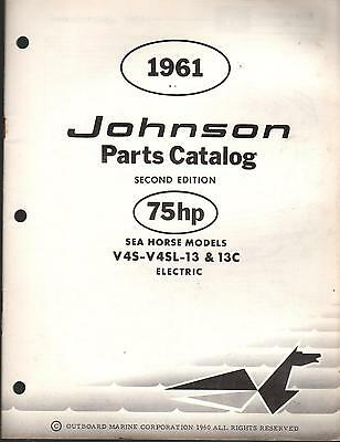 1961 Johnson Outboard Motor Parts Manual 75 Hp V4S-V4Sl-13 & 13C Electric  (175)