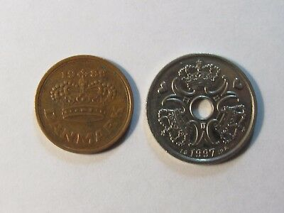 Lot of 2 Different Current Denmark Coins - 1989 and 1997 - Circulated