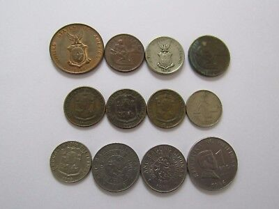 Lot of 12 Different Philippines Coins - 1944 to 1996 - Circulated