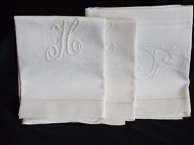 """2 Antique Nubby Damask Linen Hand Towels """"H"""" Hemstitched~with Bonus~Raspberry"""