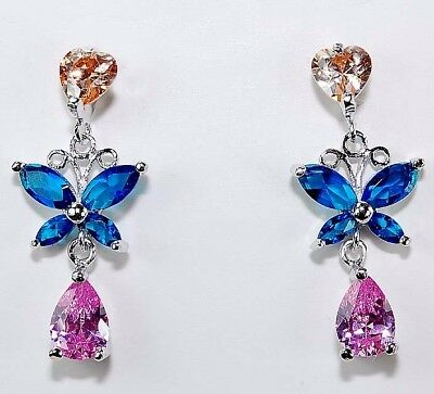 2CT Padparadscha Sapphire & Sapphire 925 Solid Sterling Silver Earrings jewelry