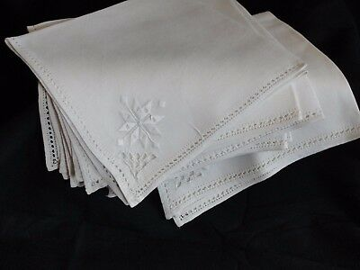 7 Hemstitched White Linen Snowflake Embroidered Napkins