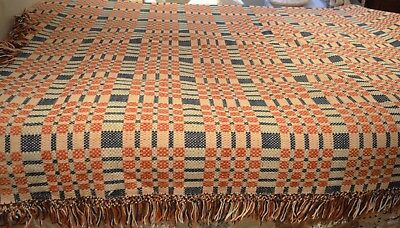 Handsome Vintage Hand Woven Jacquard Blanket Coverlet Throw Tt367