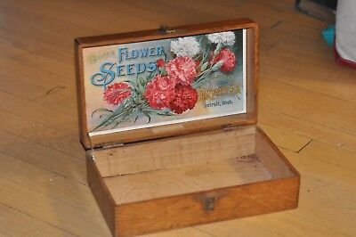 """Excellent Condition Antique D. M. Ferry """"Choice Flower Seeds"""" Display Box No Res"""
