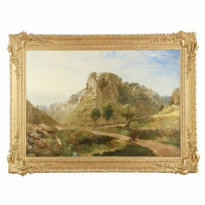 Very Large 19th Century English Antique Landscape Painting of Mountains