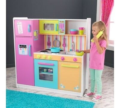 Play Kitchen For Kids Deluxe Big And Bright Oven Freezer Refrigerator  Pretend