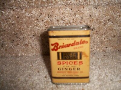 Very Rare Old Vintage Briardale Pure Foods Spice Tin Ginger Can Des Moines Iowa
