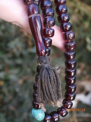 """Antique Genuine Cherry Amber Prayer Turquoise Bead Necklace 27""""  Museum Quality"""