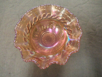 #cc10.   Decorative Amber Carnival Glass Dish