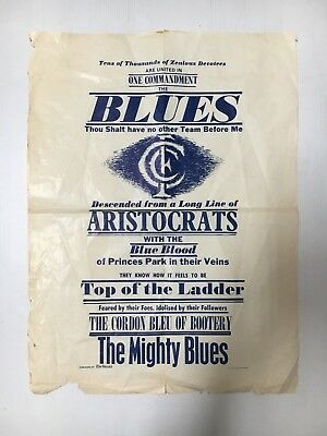 """Carlton Football Club """"the Blues"""" The Herald Send Away Poster From 1972"""