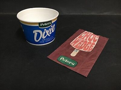 """Peters Ice Cream """"choc Wedge Wrapper"""" & """"dixie Cup"""""""
