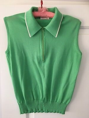 Women's 70's Vintage Sleeveless Top With Collar Size 12