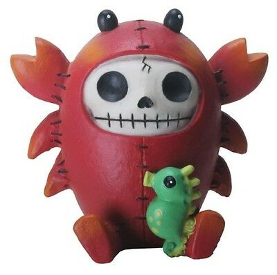FurryBones Scuttle Figurine Crab Lobster Cute Cool Skull Skeleton Gift Fun Red