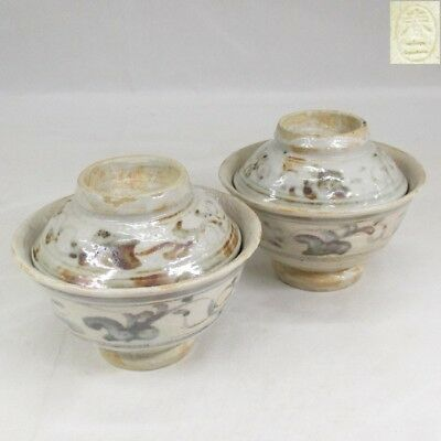 D061: Japanese SHINO pottery pair of covered bowl by famous Shunji Kato 2