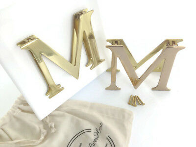 Door Knocker Polished Brass, Letter M, Artisan Made, Personalized Gift