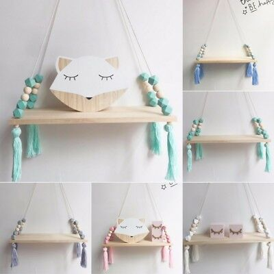 Wall Hanging Wood Swing Shelf Tassel Pendant Ornament Display Holder Home Decor