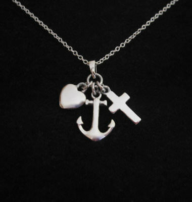 Love Faith Hope heart cross anchor sterling silver charms with a chain necklace