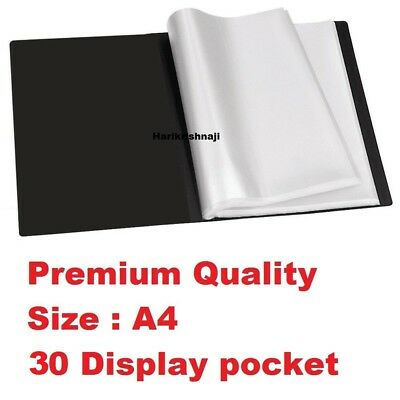 A4 Document Certificate Display Folder With 30 Plastic Transparent Pockets Black