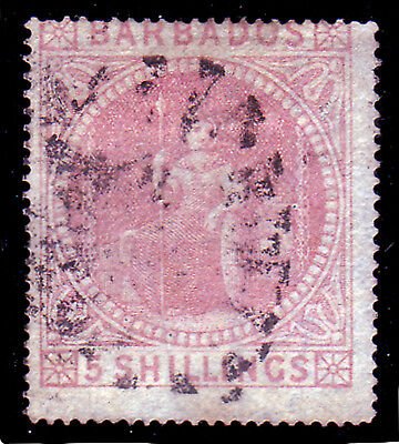 Barbados. Sg 64, 5/- Dull Rose. Used.