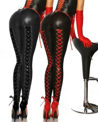 Sexy Wetlook Leggings Schnürung Lack Glanz Stretch Hose Lace Up Gothic Clubwear