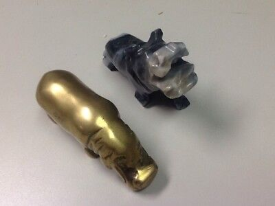 Vintage Brass Hippo Paperweight Figurine, With a Hippo Figure Made of Quartz