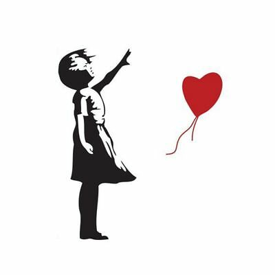 Heart Balloon Girl - Wall Decal Stickers lounge living room bedroom P8Z6