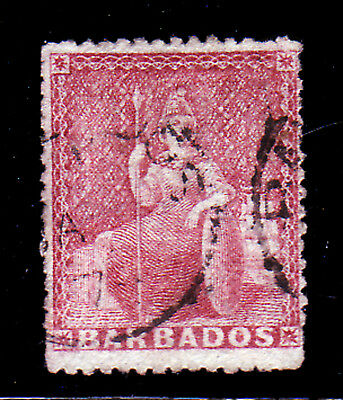 BARBADOS. SG 45, 4d DULL VERMILLION. LARGE STAR WMK. GOOD USED.