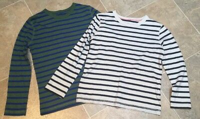 Mini Boden Two Boys Striped Long Sleeved Soft 100% Cotton Tops Age 7-8 Yrs