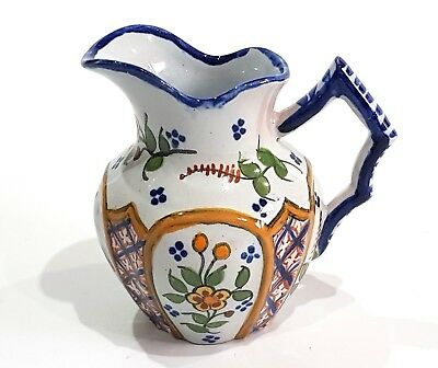 VintageQuimper Faince Pottery France Small Jug Hand Painted Floral & Bagpiper