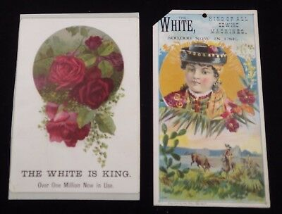2 White Sewing Machine Trade Cards        #111602