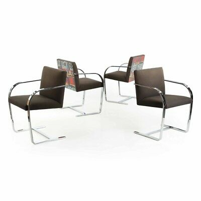 Vintage Four Chromed Steel Flat Bar BRNO Arm Chairs after Mies van der Rohe