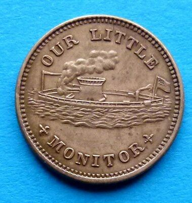! USA UNITED STATES CIVIL WAR TOKEN CENT 1863 overstruck Our Little Monitor RRR
